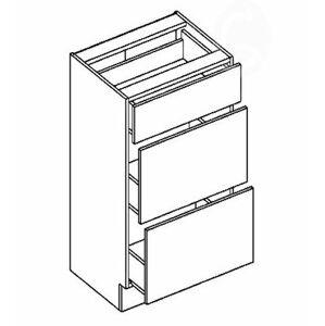 >> CORA dolná skrinka so zásuvkami D40S3, OLIVA/ČOKO