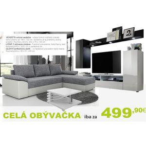 Byvajsnami SK VENDETA rohová sedačka + LIONE obývačka + GLEN konferenčný stolík