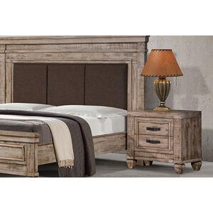 VerDesign, NAVITA drevený nočný stolík, patinovaná biela
