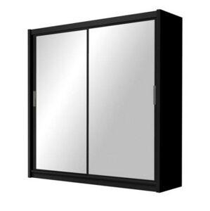 HILTON 203 šatníková skriňa so zrkadlom, čierna