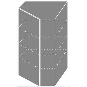 PLATINA horná rohová skrinka W4/10/60, korpus grey/lava