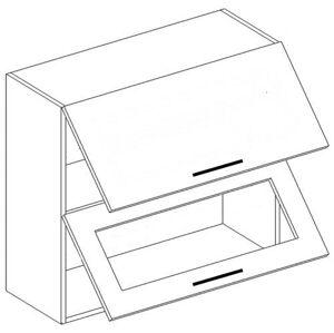 ANDY horná dvojvýklopná skrinka WO60-OK, sklo+plné dvierka